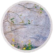 Round Beach Towel featuring the photograph Rose And Yellow Flowers by Silvia Ganora