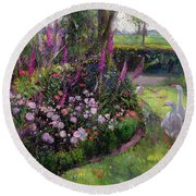 Rose Bed And Geese Round Beach Towel by Timothy Easton