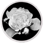 Round Beach Towel featuring the photograph Rose Black And White by Christina Rollo