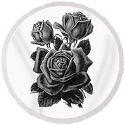 Round Beach Towel featuring the digital art Rose Black by ReInVintaged