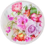 Rose Bouquet And Vintage Teapot Round Beach Towel