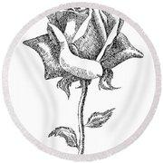 Rose Drawings Black-white 5 Round Beach Towel