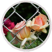 Rose Fence Round Beach Towel