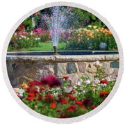 Rose Fountain Round Beach Towel