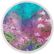 Rose Garden Round Beach Towel by Claire Bull