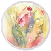 Round Beach Towel featuring the painting Rose Garden One by Elizabeth Lock
