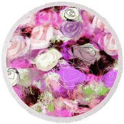 Rose Garden Promise- Art By Linda Woods Round Beach Towel