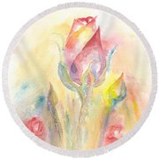 Round Beach Towel featuring the painting Rose Garden Two by Elizabeth Lock