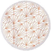 Rose Gold And White Round Beach Towel by Uma Gokhale