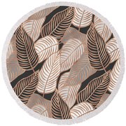 Rose Gold Jungle Leaves Round Beach Towel