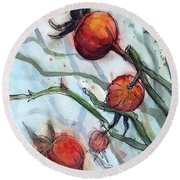 Rose Hips Abstract  Round Beach Towel