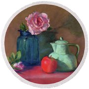 Rose In Blue Jar Round Beach Towel