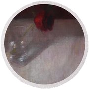 Rose In Glass Round Beach Towel