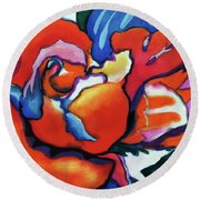 Round Beach Towel featuring the painting Rose In Outline by Kathy Braud