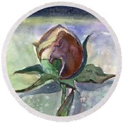 Rose In The Snow Round Beach Towel by Mindy Newman