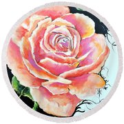 Round Beach Towel featuring the painting Rose by Jodie Marie Anne Richardson Traugott          aka jm-ART