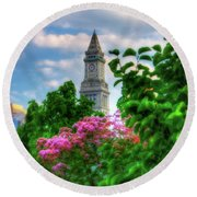 Round Beach Towel featuring the photograph Rose Kennedy Greenway And Marriott Custom House - Boston by Joann Vitali
