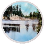 Rose Lake- Another View 2 Round Beach Towel by M Diane Bonaparte