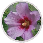 Round Beach Towel featuring the painting Rose Of Sharon by John Dyess