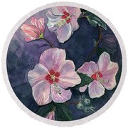 Rose Of Sharon Round Beach Towel by Katherine Miller