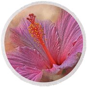 Rose Of Sharon Texture Round Beach Towel
