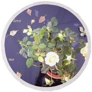 Rose On Glass Table With Loving Wishes Round Beach Towel