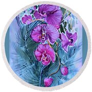 Round Beach Towel featuring the painting Rose Orchids by Mindy Newman
