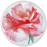 Round Beach Towel featuring the painting Rose Pink by Jasna Dragun