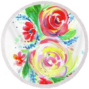 Rose Red Rose Yellow  Round Beach Towel