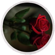 Rose Reflected Round Beach Towel
