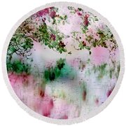 Rose Reflections Round Beach Towel