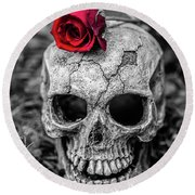 Rose Skull Round Beach Towel