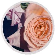 Round Beach Towel featuring the painting Rose Splendour by Kerryn Madsen-Pietsch