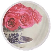 Round Beach Towel featuring the photograph Rose Tea by Lyn Randle