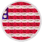 Rose White And Blue Round Beach Towel