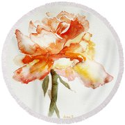Round Beach Towel featuring the painting Rose Yellow by Jasna Dragun