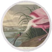 Roseate Spoonbill, 1836  Round Beach Towel by John James Audubon