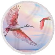 Roseate Spoonbills In Flight. Round Beach Towel