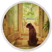 Round Beach Towel featuring the photograph Rosebud At The Door by Lewis Mann