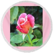 Rosebud With Border Round Beach Towel by Mary Ellen Frazee