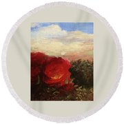 Rosebush Round Beach Towel by Mary Ellen Frazee