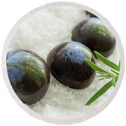 Round Beach Towel featuring the photograph Rosemary Caramel Chocolate by Sabine Edrissi