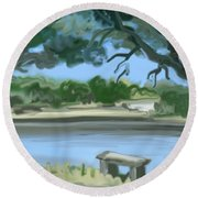 Rosemary Lake Round Beach Towel