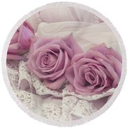 Roses And Beaded Lace Round Beach Towel by Sandra Foster