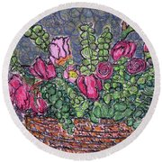 Roses And Eucalyptus In Basket Round Beach Towel by Gerhardt Isringhaus