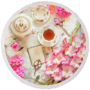 Roses And Gladiolas With Vintage Tea Pot And Cups Round Beach Towel