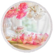 Roses And Gladiolus In Morning Light Round Beach Towel