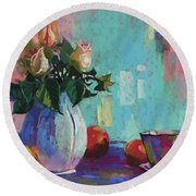 Roses And Peaches Round Beach Towel