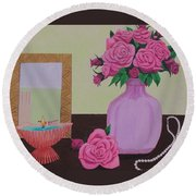 Roses And Pearls Round Beach Towel by Hilda and Jose Garrancho