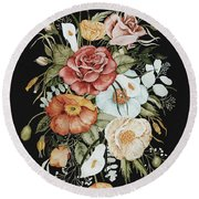 Roses And Poppies Bouquet Round Beach Towel